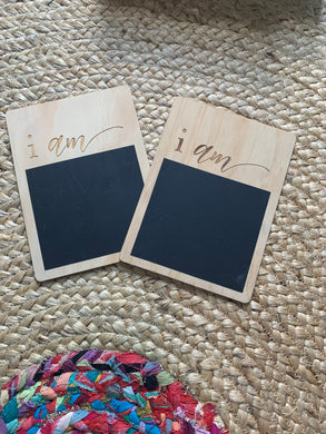 I AM - ANNOUNCMENT CHALK BOARD CARDS