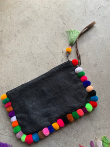 Almighty Love Pompom Clutch (Black with Multi Pom Poms)