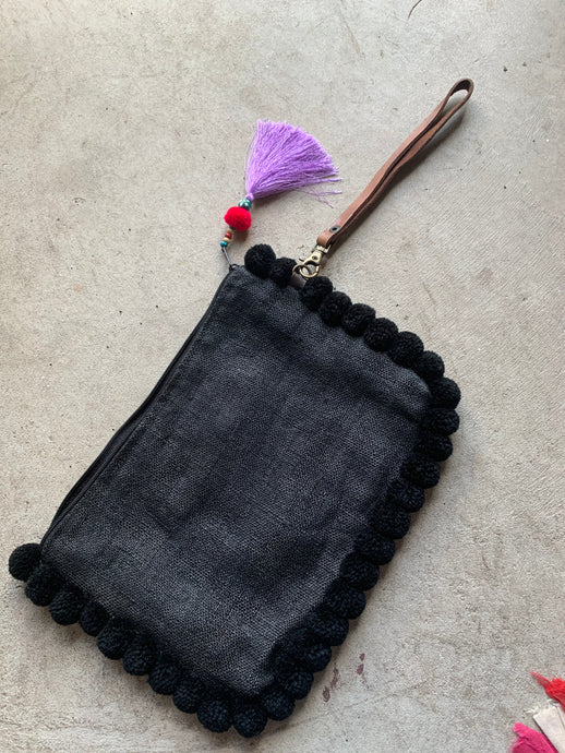 Almighty Love Pompom Clutch (Black)
