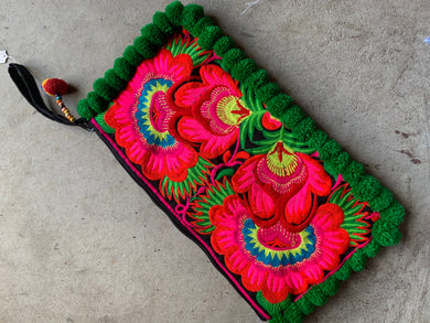 Love Embroidered Trad Pompom Clutch - Fern