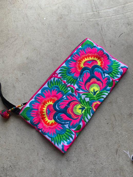 Love Embroidered Trad Clutch - Blue and Pink