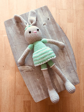 Mrs Mint Bunny - Handmade Large Size Crochet Doll