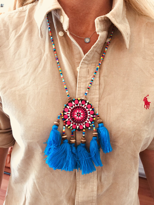 Floral Beaded Tassel Necklace (Multi) IN STOCK Blue