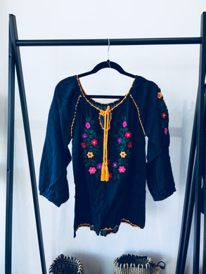 Freedom Navy Hand Embroidered Smock Top