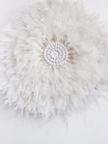 WHITE FEATHER JUJU  WITH CRISP WHITE SHELL DETAILING WALL HANGING