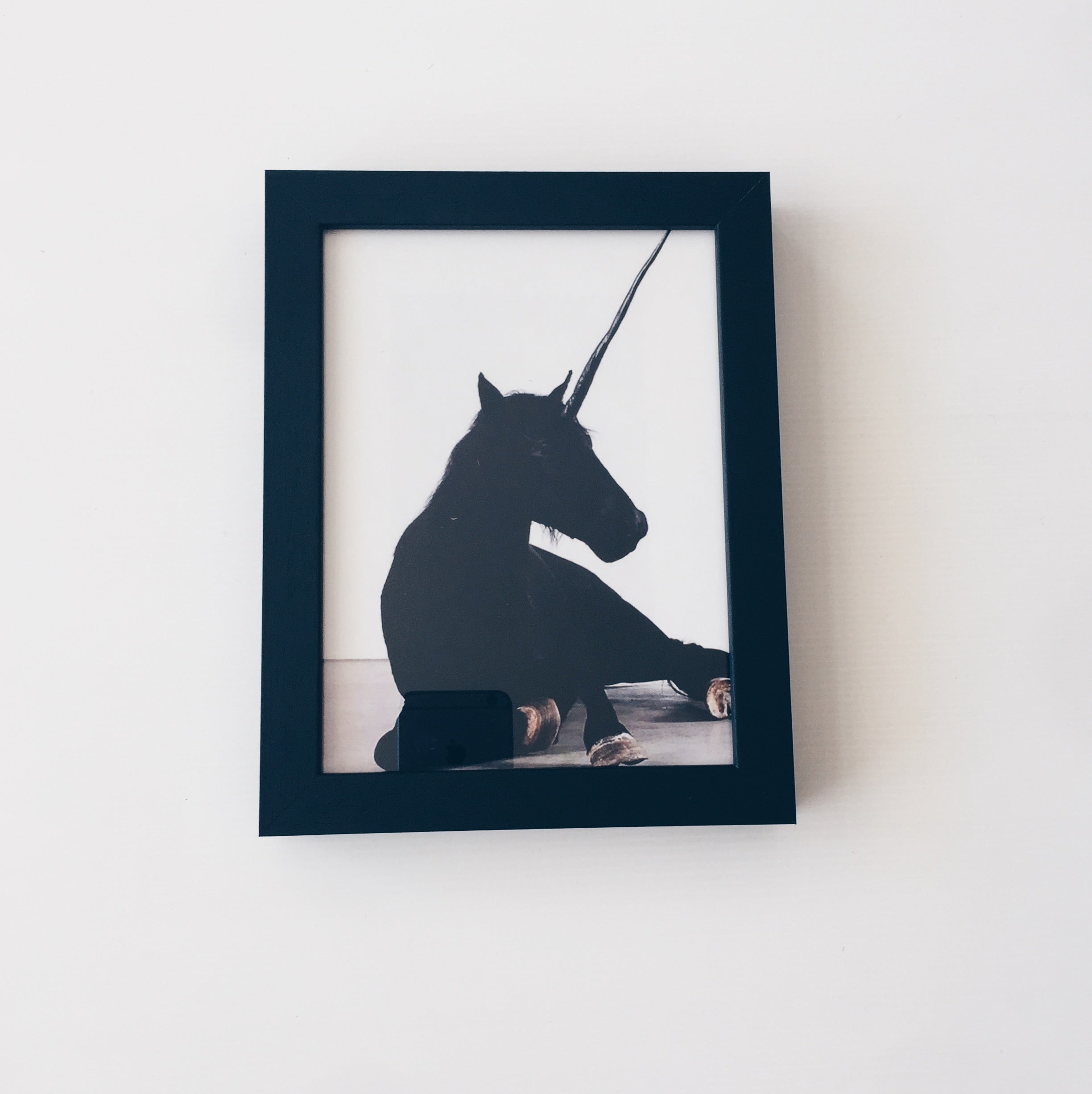 Black Unicorn Horse Print