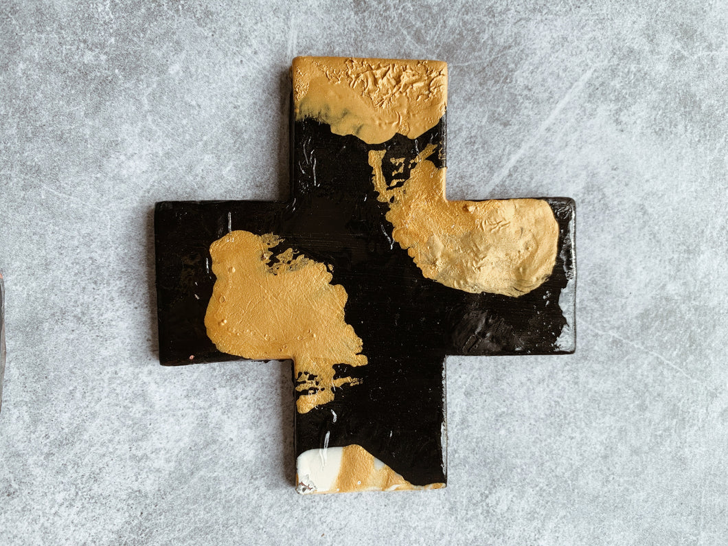 Monochrome - Charcoal and Gold Night Ceramic Cross