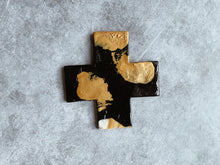 Load image into Gallery viewer, Monochrome - Charcoal and Gold Night Ceramic Cross