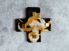 Load image into Gallery viewer, Gold and Monochrome Glimmer Detail - Ceramic Cross