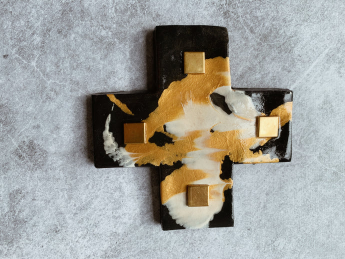 Gold and Monochrome Glimmer Detail - Ceramic Cross
