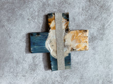 Load image into Gallery viewer, Metallic Aqua Glimmer Detail - Ceramic Cross