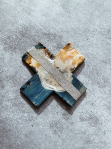 Metallic Aqua Glimmer Detail - Ceramic Cross