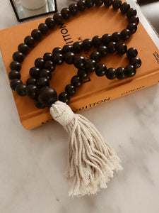 Styling Decorative Designed Black Tassel Ends - Natural