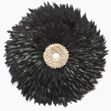 Load image into Gallery viewer, FLAT CHARCOAL JUJU : SIZE 60CM BLACK FEATHER AND SHELL FEATHER WALL HANGING