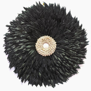 FLAT CHARCOAL JUJU : SIZE 60CM BLACK FEATHER AND SHELL FEATHER WALL HANGING