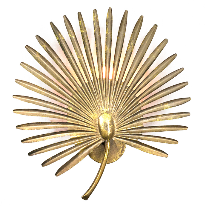 BRASS PALM WALL SCONCE
