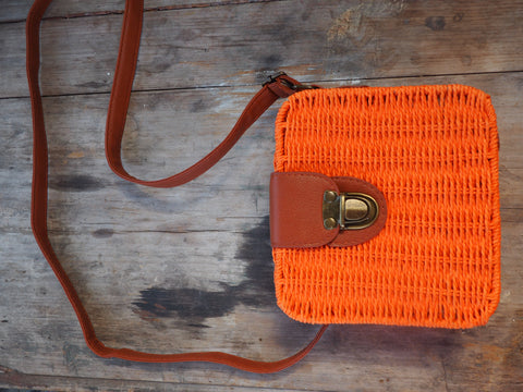 Orange Soda - Adventure Parcel Woven Straw Hand bag