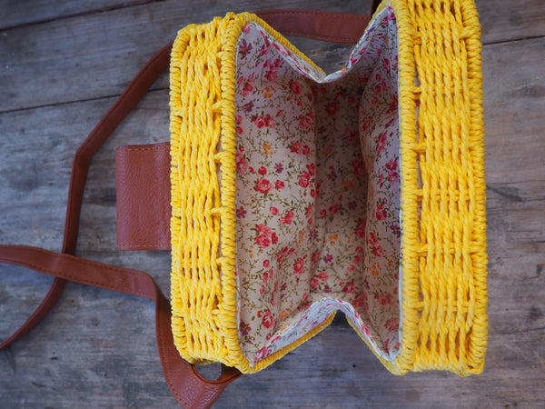 Yellow - Adventure Parcel Woven Straw Hand bag
