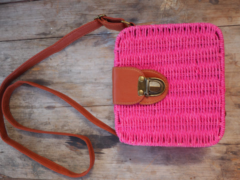 Fuchsia - Adventure Parcel Woven Straw Hand bag