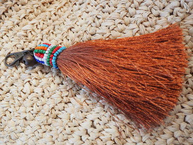 Tribal Beaded Metallic Toffee Coloured Tassel Keyring