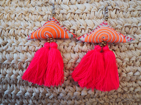 Neon Embroidered  Tassel Earrings - Vibrant Paradise