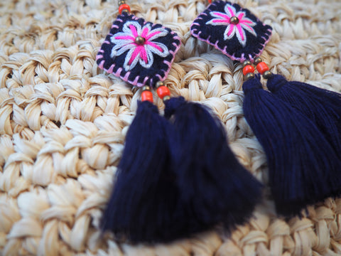 Floral Deep Blue  Island - Navy Trad earrings