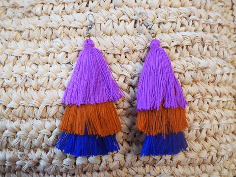 Layer Tassel Earrings - Vibrant Safari- Royal Blue, Mustard, Purple