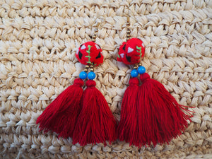 Red Freedom Embroidered Tassel Earrings