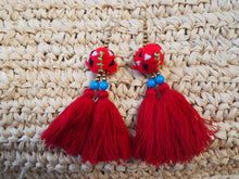 Load image into Gallery viewer, Red Freedom Embroidered Tassel Earrings