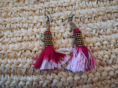 Tassel beaded Short Earrings - Pink and Cream