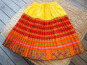 Yellow, Orange and Red - Tribal Trad Circle Skirt