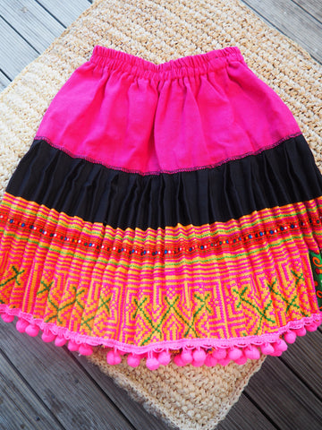 Black Pink and Pattern - Tribal Trad Circle Skirt
