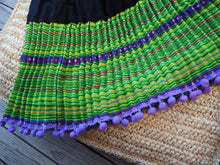 Load image into Gallery viewer, Black Lime and Purple- Tribal Trad Circle Skirt