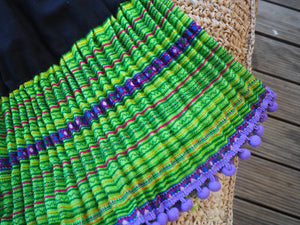Black Lime and Purple- Tribal Trad Circle Skirt