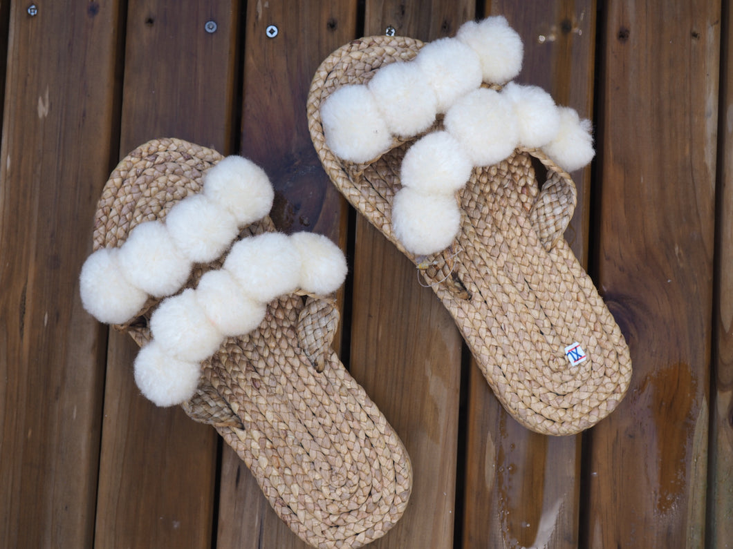 Natural White Pom Pom Woven Slides