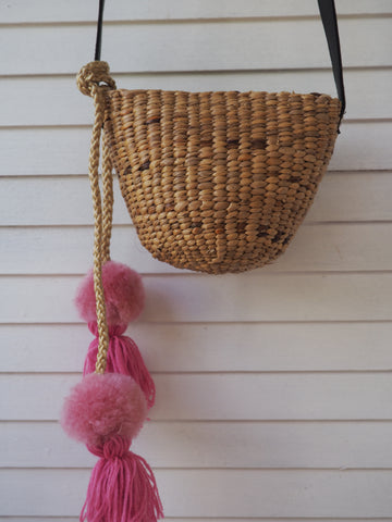 Woven Straw Girls Bag - Pink Pom Pom Detail.