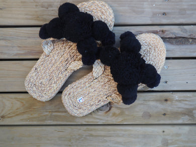 Black Pom Pom Natural Woven Women's Slides