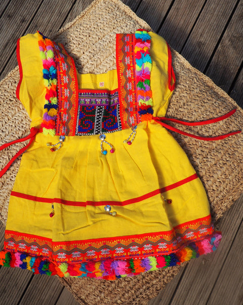Yellow- Vintage Children's Folk Dress