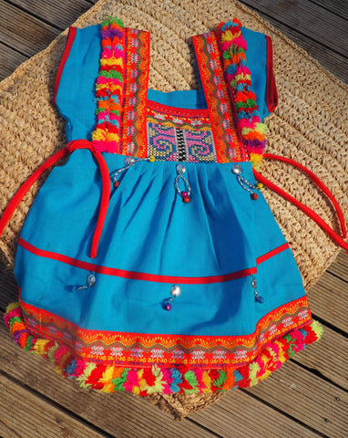 Aqua- Vintage Children's Folk Dress