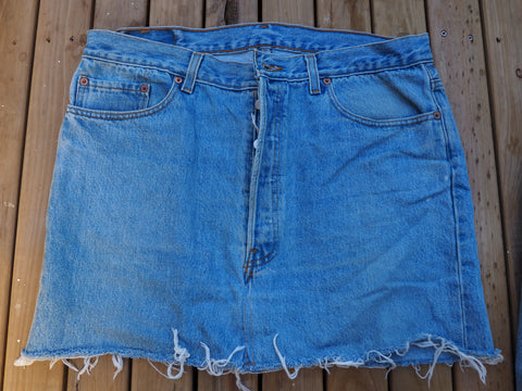 'MY VINTAGE' - LEVIS BOYFRIEND CUT OFF AUTHENTIC DENIM SKIRT 30