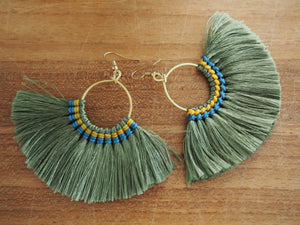 Khaki  - Premium Handmade Tassel Tribal Earrings