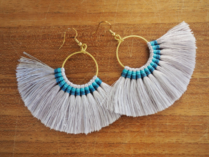 Crisp white and Turquoise-  Premium Handmade Tassel Tribal Earrings