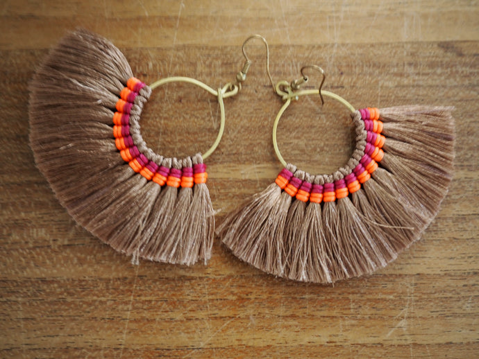 Beige and Neon - Premium Handmade Tassel Tribal Earrings