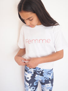 Gerry Can Kids Active - 'Femme, empowered; Organic Cotton Tee in 'Crisp White + Red' - GERRY CAN