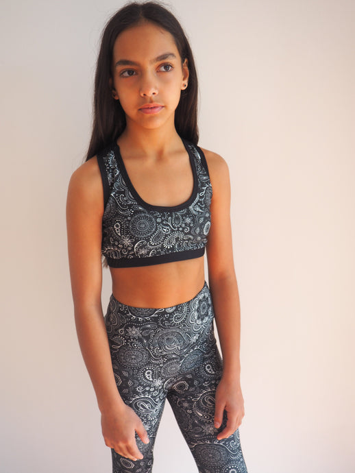 Gerry Can Kids Active -HAND DRAWN MONOCHROME PAISLEY COMPRESSION CROP - GERRY CAN