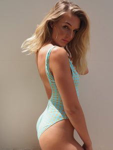 Arch Academy / Bond High cut Iconic One Piece Swimsuit,deep scoop back and front in pale turquoise and yellow print - GERRYCAN