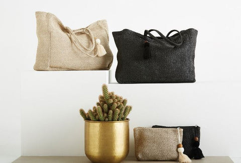 EB + IVE - HACIENDA BEACH BAG - IVORY + BLACK 2374001