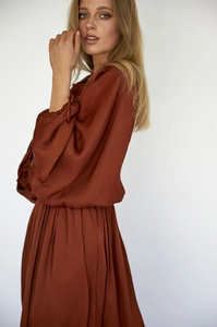 NORA DRESS - RED CLAY