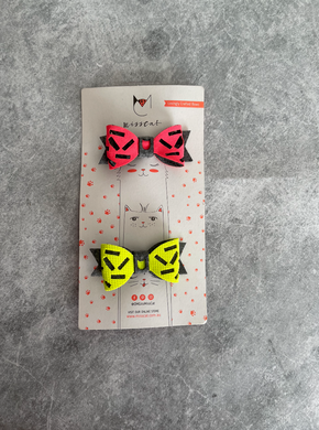 Miss Cat Bows - Neon Confetti (Set of 2)
