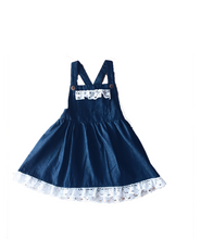 Load image into Gallery viewer, Vintage Rogue DENIM  Pinafore with Crochet Detailing (Girls Version)- HANDMADE